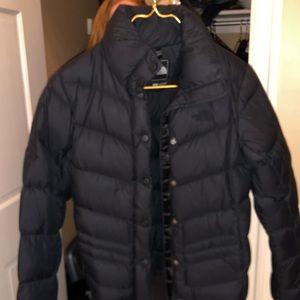 Women's black North Face puffer jacket black logo